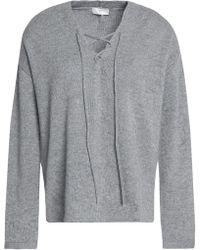 Joie - Larken Lace-up Mélange Stretch-knit Sweater - Lyst
