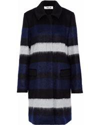 Diane von Furstenberg - Striped Brushed Wool-blend Coat - Lyst