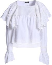 Love Sam - Ruffled Broderie Anglaise Cotton Blouse - Lyst