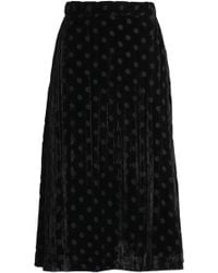 House of Holland - Pleated Polka-dot Devoré-chiffon Midi Skirt - Lyst