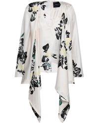 1465346f8556f Paper London - Woman Draped Floral-print Silk-twill Blouse Ivory - Lyst