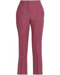 MSGM - Cropped Checked Wool Straight-leg Trousers - Lyst
