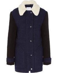 Carven - Faux Shearling-trimmed Wool-blend Felt Coat - Lyst