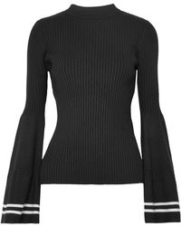 Mother Of Pearl - Woman Corinne Striped Ribbed-knit Jumper Black - Lyst