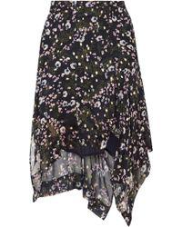 Isabel Marant - Woman Myles Floral-print Fil Coupé Silk-blend Georgette Skirt Black - Lyst