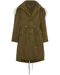 Alexander McQueen - Shearling-trimmed Cotton-twill Hooded Coat Army Green - Lyst