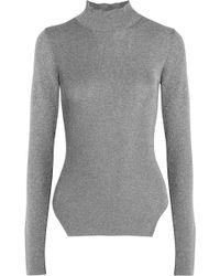 Mugler - Metallic Ribbed Stretch-knit Turtleneck Jumper - Lyst