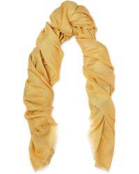 Brunello Cucinelli - Frayed Metallic Cashmere And Silk-blend Scarf - Lyst