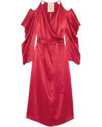 Roland Mouret - Serena Cold-shoulder Silk-satin Midi Wrap Dress - Lyst