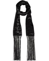Saint Laurent - Woman Fringed Velvet Scarf Black - Lyst