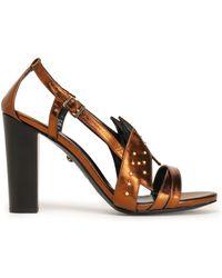 Just Cavalli   Studded Metallic Leather Sandals   Lyst