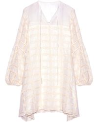 Tibi - Bow-detailed Embroidered Cotton And Silk-blend Mini Dress - Lyst