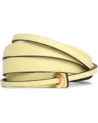 Valentino - Embellished Textured-leather Belt Pastel Yellow - Lyst