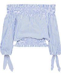 Caroline Constas - Woman Lou Off-the-shoulder Cropped Striped Cotton-poplin Top Royal Blue - Lyst