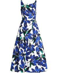 MILLY - Tea Floral-print Cotton-blend Faille Midi Dress - Lyst
