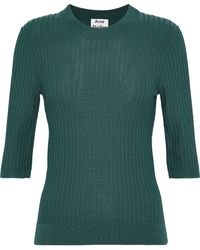 Acne Studios - Iza Ribbed-knit Cotton-blend Top Forest Green - Lyst