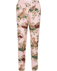 Dolce & Gabbana - Printed Silk-twill Tapered Trousers - Lyst