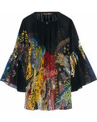 Roberto Cavalli - Printed Silk-georgette Blouse - Lyst