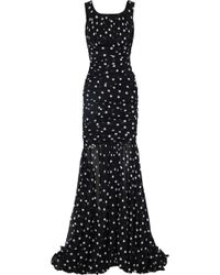 Dolce & Gabbana - Fluted Ruched Polka-dot Silk-blend Chiffon Gown - Lyst