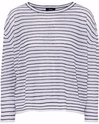 Theory - Striped Linen-blend Top - Lyst