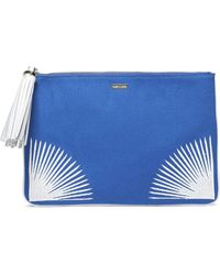 Melissa Odabash - Tasselled Embroidered Canvas Pouch - Lyst