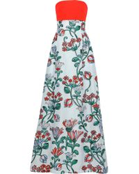 Lela Rose - Strapless Twill-paneled Cloqué-jacquard Gown - Lyst