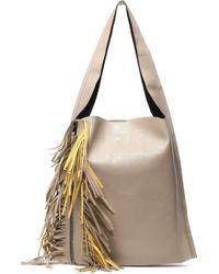 Elena Ghisellini - Fringe-trimmed Leather Shoulder Bag - Lyst