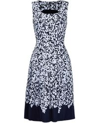 Oscar de la Renta - Pleated Printed Stretch-cotton Dress - Lyst