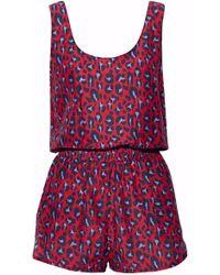 Stella McCartney | Leopard-print Cotton And Silk-blend Playsuit | Lyst