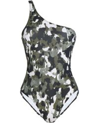 Norma Kamali - One-shoulder Printed Swimsuit Army Green - Lyst