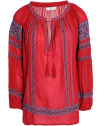 Joie - Tasseled Embroidered Cotton-gauze Blouse - Lyst