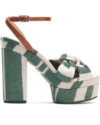 Castaner - Amaia Striped Linen And Leather Platform Sandals - Lyst