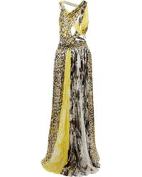 Roberto Cavalli - Cutout Ring-embellished Printed Silk-gauze Gown - Lyst