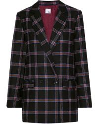 Iris & Ink - Kristin Double-breasted Checked Wool-blend Blazer - Lyst