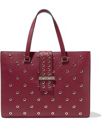 RED Valentino - Eyelet-embellished Textured-leather Shoulder Bag - Lyst