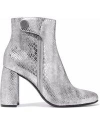 1430cf1556c Stella McCartney - Woman Paden Metallic Snake-effect Faux Leather Ankle  Boots Silver - Lyst
