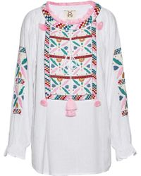 Figue - Lou Lou Tasseled Embroidered Cotton-gauze Tunic - Lyst