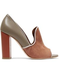 Malone Souliers - Grace Metallic-trimmed Suede And Leather Court Shoes - Lyst