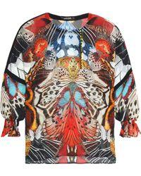 a6e909d08eadd Roberto Cavalli - Woman Ruffle-trimmed Printed Silk-georgette Blouse  Multicolour - Lyst