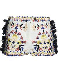 Antik Batik - Tasseled Embroidered Cotton-piqué Shorts - Lyst
