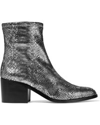 Opening Ceremony - Livv Metallic Snake-print Stretch-leather Ankle Boots - Lyst
