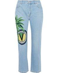Versus - Printed Mid-rise Straight-leg Jeans Light Denim - Lyst