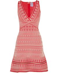 Hervé Léger - Stretch Jacquard-knit Mini Dress - Lyst