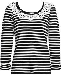 Claudie Pierlot - Lace-trimmed Striped Cotton Top - Lyst