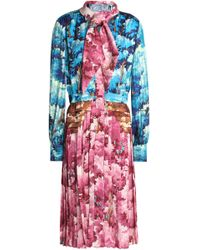 Marco De Vincenzo - Knotted Printed Satin Dress - Lyst