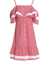 W118 by Walter Baker - Carter Cold-shoulder Gingham Cotton-poplin Dress - Lyst