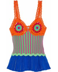 Moschino - Crochet, Stretch And Pointelle-knit Cotton Top - Lyst
