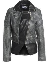Muubaa - Paneled Leather Biker Jacket Dark Gray - Lyst