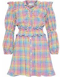 90502c1df8 Caroline Constas - Peasant Off-the-shoulder Gingham Seersucker Mini Dress -  Lyst
