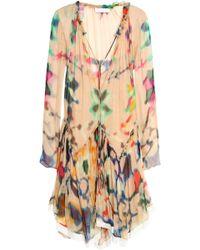 Chloé - Gathered Printed Silk-georgette Dress - Lyst